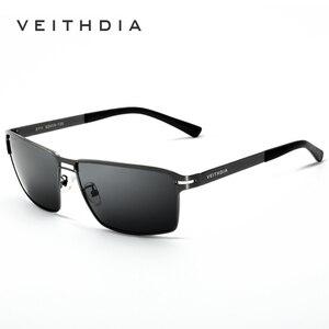 Image 2 - VEITHDIA 2020 גברים של משקפי שמש מקוטב UV400 עדשת שמש משקפיים מלבן נירוסטה משקפיים Eyewear אביזרי עבור גברים