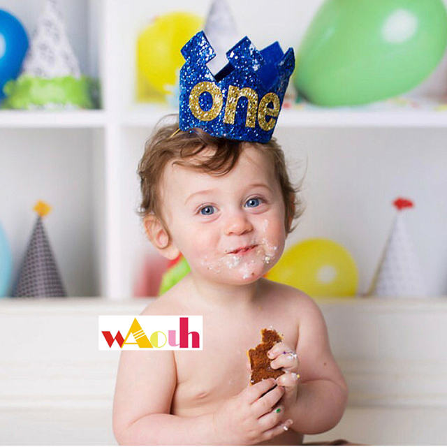 Royal Prince First Birthday Outfit Crown Hat Boys