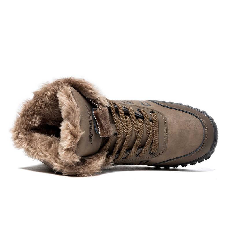Winer Schnee Stiefel Für Männer Split Leder Pelz Plüsch Warme Schuhe Männer der Dicken Boden Wasserdicht Eis Arbeit Schutz Boot schuhe 39-48
