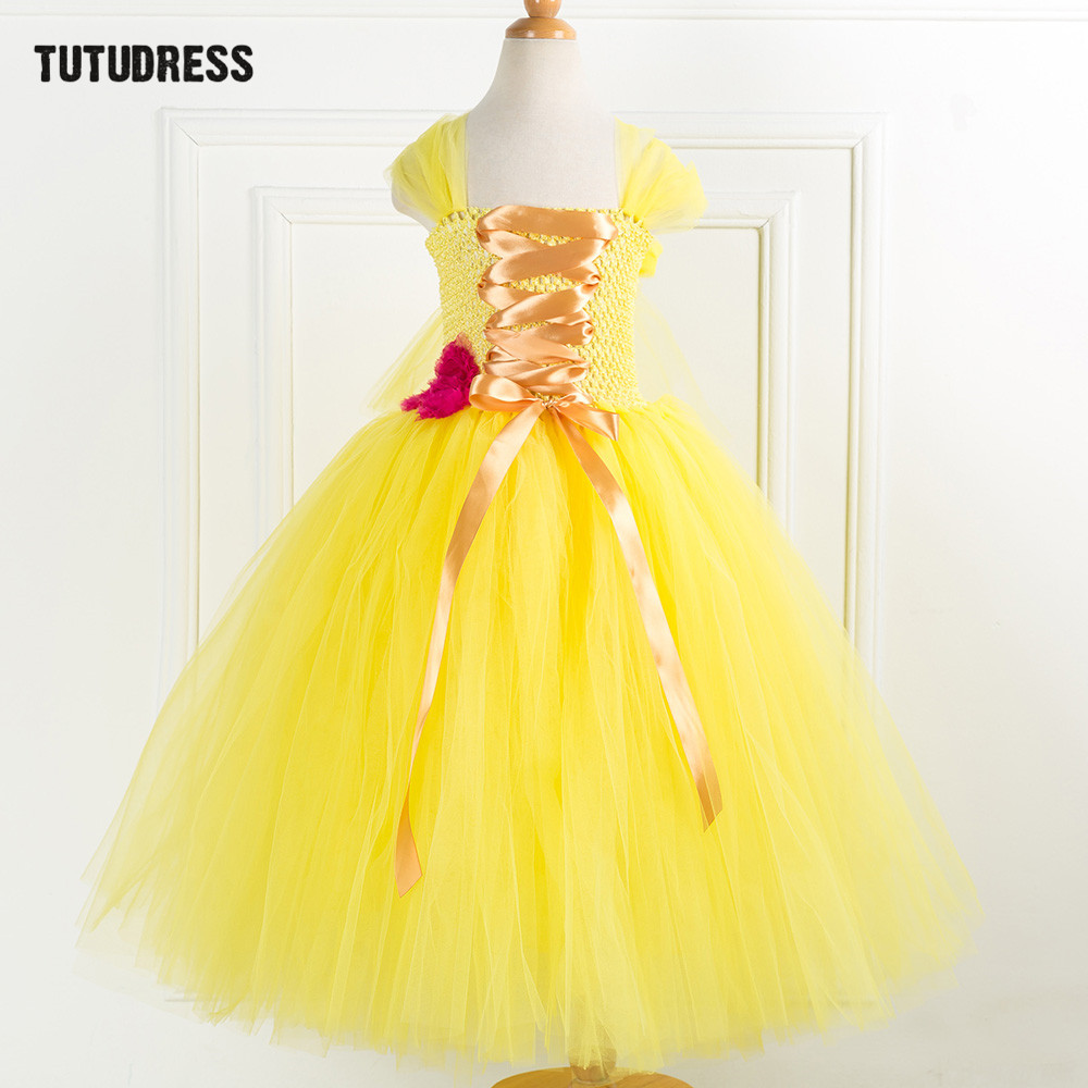 Tulle Flower Girl Princess Dress Belle Beauty Beast Cosplay Tutu Dress Kids Party Carnival Christmas Halloween Dress Costumes christmas halloween princess dress cosplay snow white dress costume belle princess tutu dress kids clothes teenager party 10 12