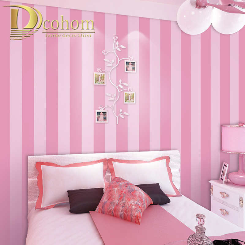 Pink Blue Stripes Wallpaper For Kids Room Baby Girls Boys Bedroom Decor Wallpapers Tv Backdrop Striped Wall Papers Roll