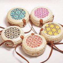 Women round Rattan handbag small bamboo crossbody bags handmade woven flower 20*8  buckle shoulder Circular purse