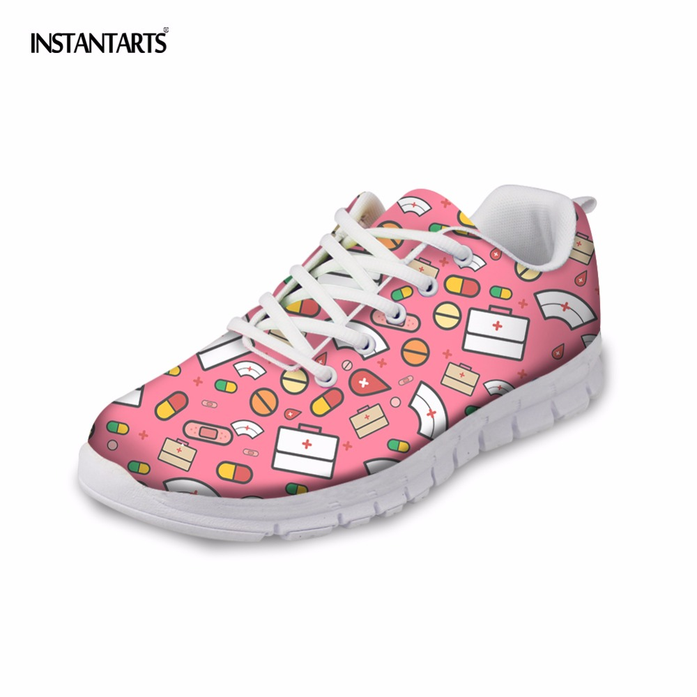 INSTANTARTS Fashion Women Sneakers Cute Cartoon Nurse Printed Woman Flats Breathable Lace Up Casual Flat Shoes for Lady Students instantarts fancy flamingos women flat sneakers comfortable spring woman casual lace up flats air mesh breathable students shoes