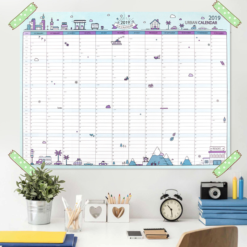 2019 365days paper wall calendar office school daily
