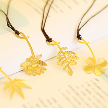 8 pcs/Lot Gold leaves bookmark for books Chinese classical  Lotus Maple Clover metal bookmark Office School supplies FC834 8 pcs lot golden feather bookmark beautiful flowers leaves page clip fresh stationery office school supplies fc409
