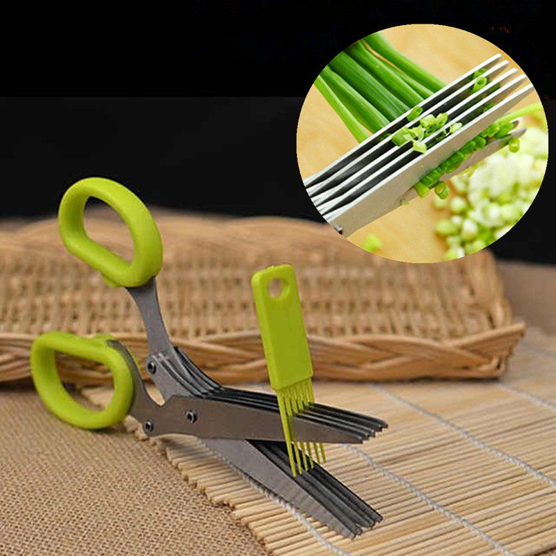 5 Layers Blade Scallion Scissors With Brush Multifunctional Kitchen Shredded Knife Fruit Vegetable Cut Herb Spices Cooking Tools