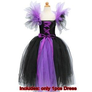 Image 5 - Юбка пачка Maleficent of evil queen для девочек, платье с рожками, костюм ведьмы на Хэллоуин для косплея для девочек, Детские праздники