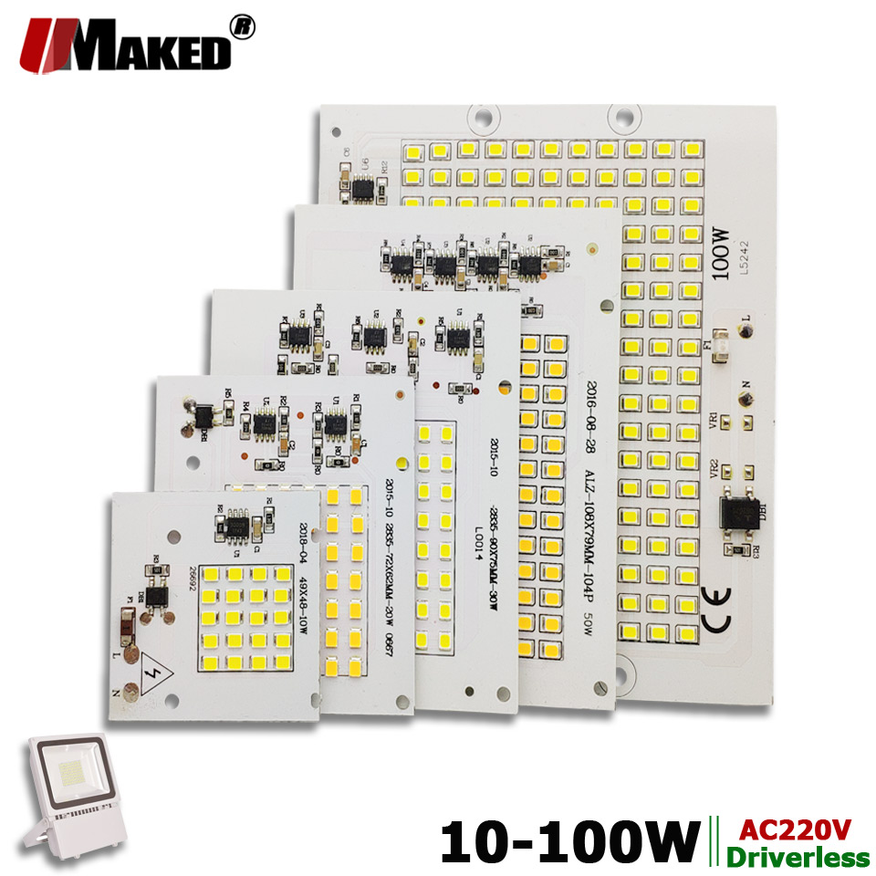 AC220V LED PCB 10W 20W 30W 50W 100W LED Floodlight Module Aluminum Plate White/Warm SMD2835 Smart IC Driver For Spotlight Lamps