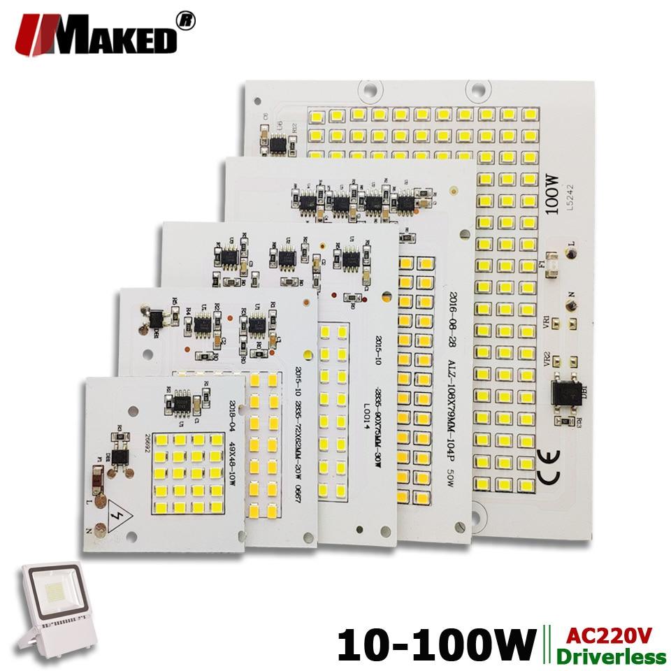 Módulo de reflector LED AC220V LED PCB 10W 20W 30W 50W 100W placa de aluminio blanco/cálido SMD2835 controlador IC inteligente para lámparas de foco
