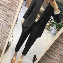 Business Women Pencil Pant Suits 2 Piece Sets Black Solid Blazer