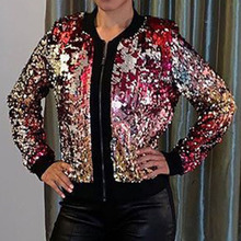 Women Basic Jacket Autumn Winter Sexy Lady Sequin O-neck Zipper Coat  Colorful Spangle 703eb23c7d10
