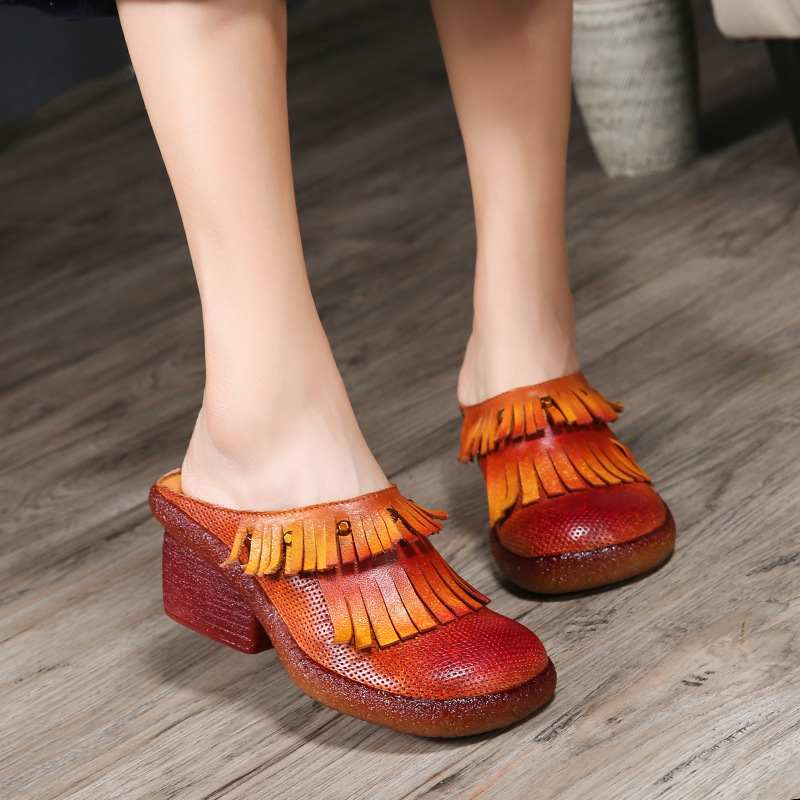 Tyawkiho Genuine Leather Women Slippers Mules 5 CM High Heels Summer Shoes Fringe Fashion Women Leather Slippers Retro Handamde tyawkiho genuine leather women slippers flower summer shoes 6 cm high heels red hollow out slippers retro handmade women shoes