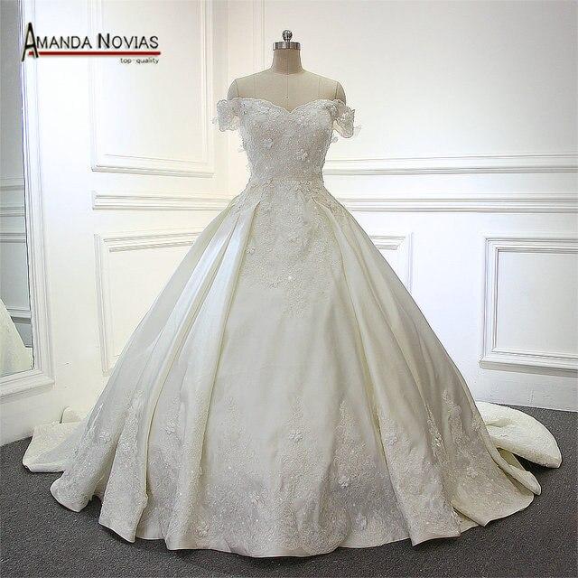 real fotos satén encaje vestido de novia con flores nuevo modelo en