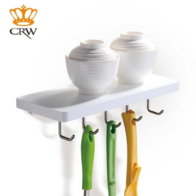 Crw weiß bad ecke regal mit haken zu hängen handtuch küche regal mit ...