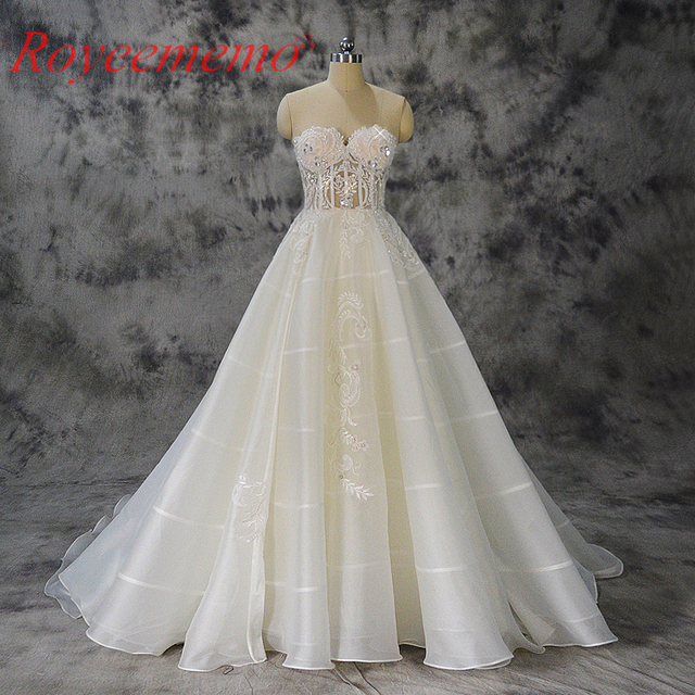 2017 Special Lace Transparent Top Wedding Dress Sex Design Bridal Gown Custom Made Factory