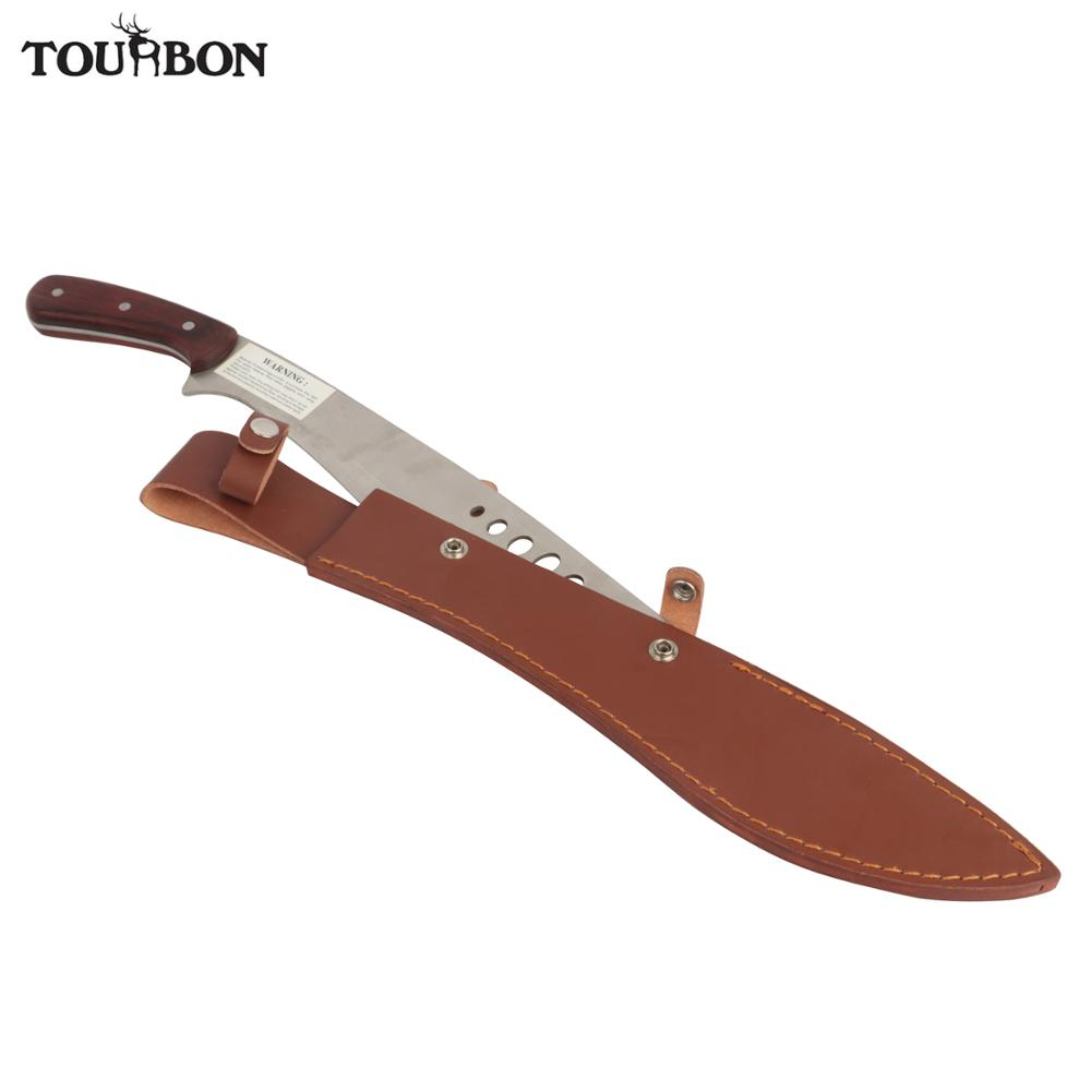 Tourbon Hunting Blade Knives Sheath Cover Bonded Leather Knife Scabbard With Button Closure Belt Slot