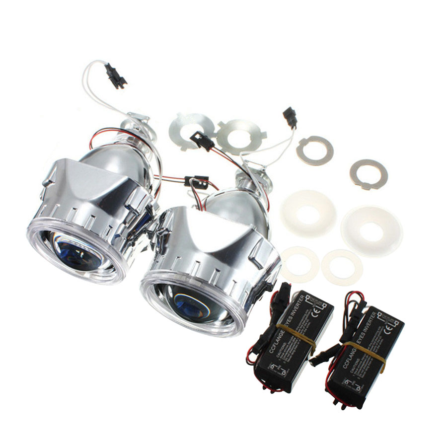 H1/H4/H7 Universal 1 Pair 2.5 inch Mini HID Bi-xenon Projector Lens LHD/RHD headlight with Light Guide Angel eyes and Inverter free shipping iphcar lhd rhd auto driving front lens universal led ring angel eyes light mini projector headlight for h1 h4 h7