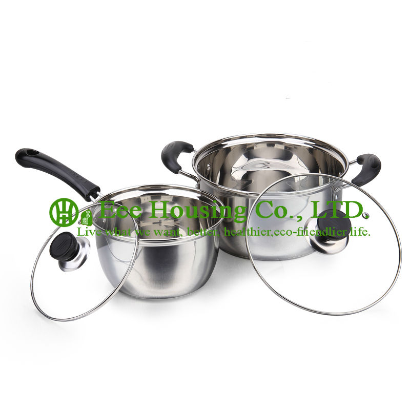 Stainless Steel Cooking Cookware Kitchenware Set Manufactuer In China Free Shipping Soup Pot,milk Pot With Glass Lid Kitchen