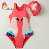 Andzhelika Children Swimsuit One Piece Girl Bird Print Swimwear Baby Cup Swim Hat Child Sports Bodysuit