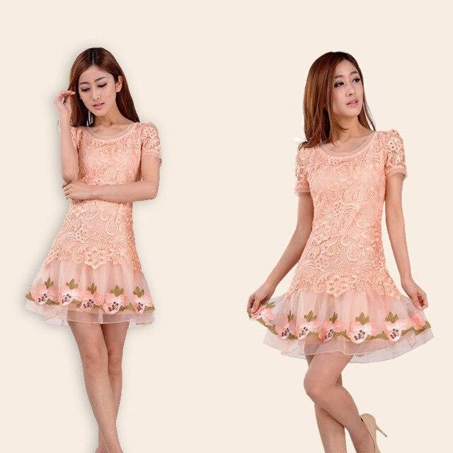 One-piece dress summer slim floral print medium skirt short-sleeve lace cutout one-piece dress fashion
