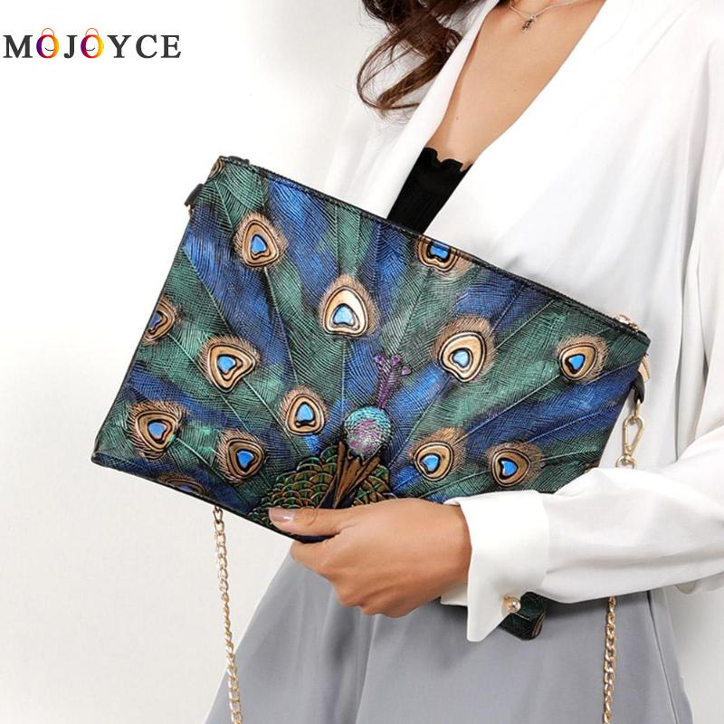 Vintage Women Peacock Printed Party Clutch Handbag Retro PU Leather Crossbody Bags Ladies Zipper Chain Shoulder Bag