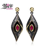 DC1989 Red Evil Eyes Long Drop Earrings Black Gold Plated Red Bezel Setting Cubic Zirconia Brass