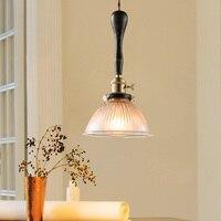 Loft Tarzı Retro Kolye Lamba Asılı Lamba Cam Vintage Işıklar Asılı Antika Ahşap Kolye aydınlatma armatürü Yatak Odası Lamparas