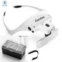 Lupen LED Licht Lampe Kopf Lupe Juwelier Stirnband Lupe Brillen Optische Glas Werkzeug Reparatur Lesen Lupe