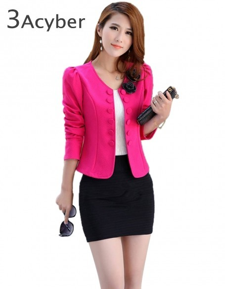 Slim Blazer Women Autumn Double Breasted Woman Coat Blazers Short Design Long Sleeve Cardigan Coat Female Short Jacket