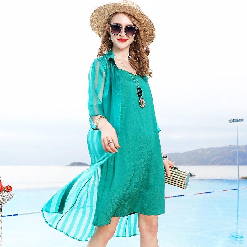 2019 Tempérament Vêtements De D'été Soie Vert Cardigan long Deux L10ht1807 Costume Pour Dames pièce Robe Mode Milieu Nouvelle Femme Ensemble qCwxW4IY