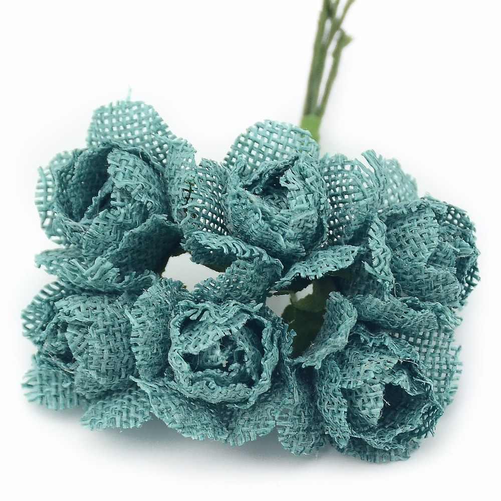 Pas cher 6 pièces artificielle en plastique simulation roses bouquet de mariage décoration artisanat accessoires bricolage couronne cadeau de noël