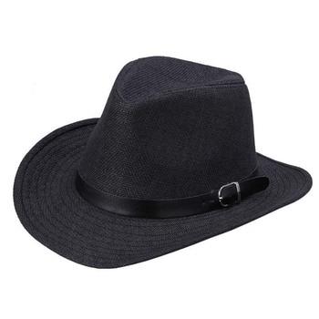 De los hombres de verano sombrero de paja sombrero de vaquero de moda  occidental vaca niño caballería Hatband caliente e5925085da8