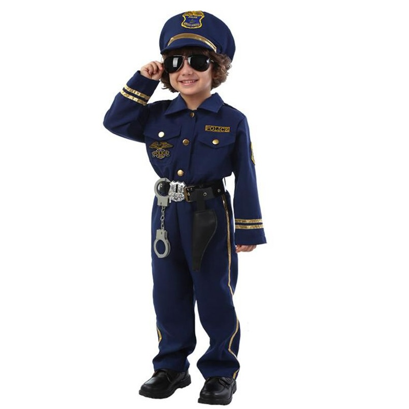 NuoNuoWell Hi quality Halloween Party New Arrival Super Police Cosplay Costume For Kids Cute Children Costumes