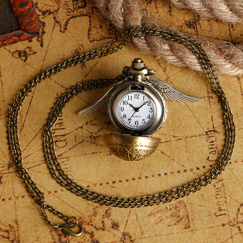 Vintage Pocket Watch Antique Quartz Modern Retro Web Pattern Ball Shape with Wing Full Hunter Men Chain Women Necklace Pendant 4