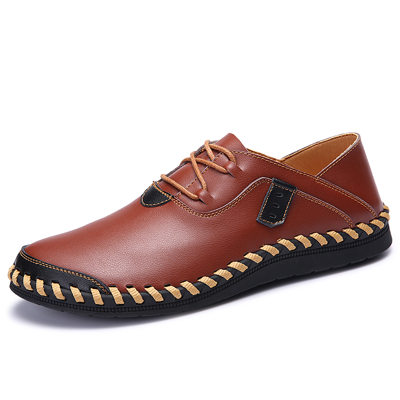 Men Shoes Leather Flats High Quality Comfortable Soft Shoes Men Oxfords Brown Luxury Footwear New 2017 Spring Chaussure Hommen