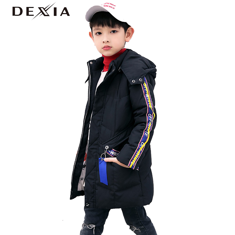 DEXIA Children Winter Boys Parka Snow Hooded Long Pattern Streak Sleeves White Duck Down Spring Jackets Boy Winter Clothes 1921 slimming drawstring hooded stripes pattern badge design color block long sleeves flocky hoodie for men