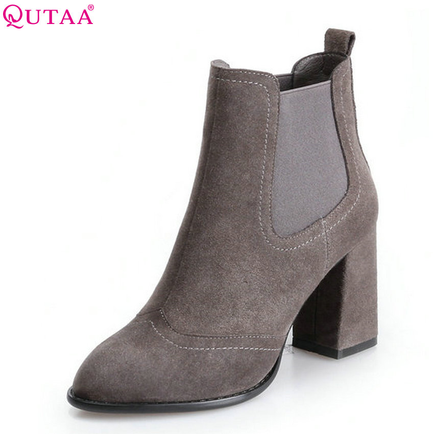 QUTAA 2018 Women Ankle Boots Zipper Fashion Square High Heel Pointed Toe Cow Suede All Match Women Boots Size  34-39 nemaone 2018 women ankle boots square high heel pointed toe zipper fashion all match spring and autumn ladies boots