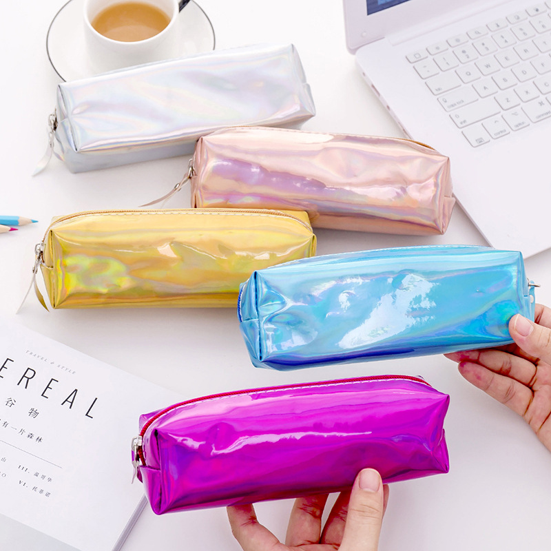 Colorful Laser school Pencil Case for girls Cute pen bag pencil box stationery pouch <font><b>Bts</b></font> office school supplies zakka image