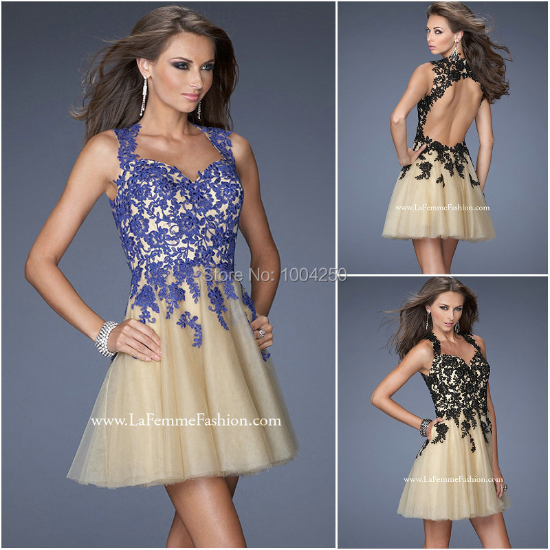 AC003 New Arrival 2016 Anne Queen Neckline Scoop Appliques Sexy Open Back Mini Short Prom   Dress   Homecoming   Cocktail     Dresses