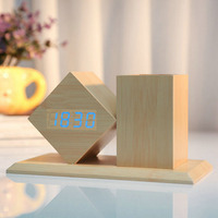 Voice Activated Sound Control Digital LED Wooden Alarm Clock with Pen Holder for Home Office Desk Clocks