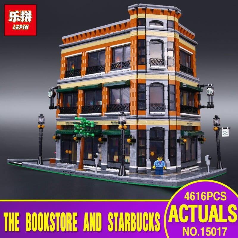 2016 LEPIN 15017 4616Pcs City Street Starbucks Bookstore Cafe Model Building Kit  Blocks Bricks Compatible Toy