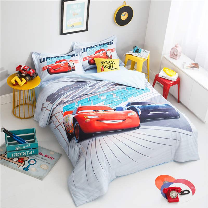 US $75.72 30% OFF|lightning Mcqueen cars bedding 3D disney bedroom decor  boys pillowcase cartoon home textile egyptian cotton bed linen queen  size-in ...