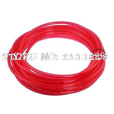 Clear Red 10mm x 6.5mm Polyurethane PU Air Hose Tube 15M 49.2Ft Long