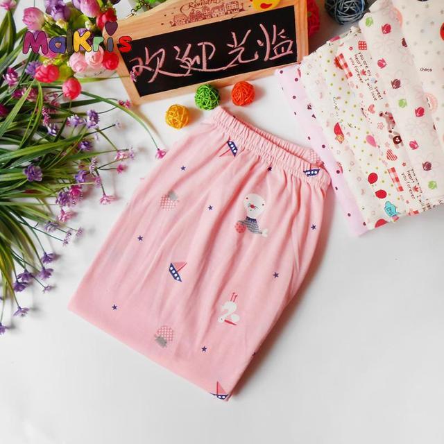 Pijamas de las mujeres Otoño Invierno Largo Delgado de Punto de Algodón Pantalones Sueltos Para Mujer Pijama de Algodón de la Historieta Del Equipamiento Casero