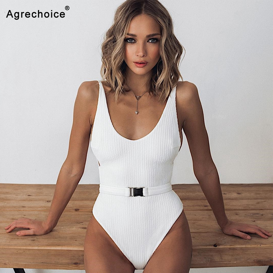 2019 New Sexy Solid One Piece Swimsuit Bodysuit Swimwear Women Push Up Monokini Backless Bathing Suits Beach Wear Swimming Suit