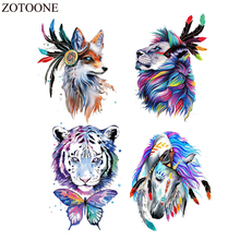 ZOTOONE Watercolor Animal Patch Iron On Tiger Patches For Kids Clothes Diy Hat Applique Heat Transfer Vinly Appliqued Washable E