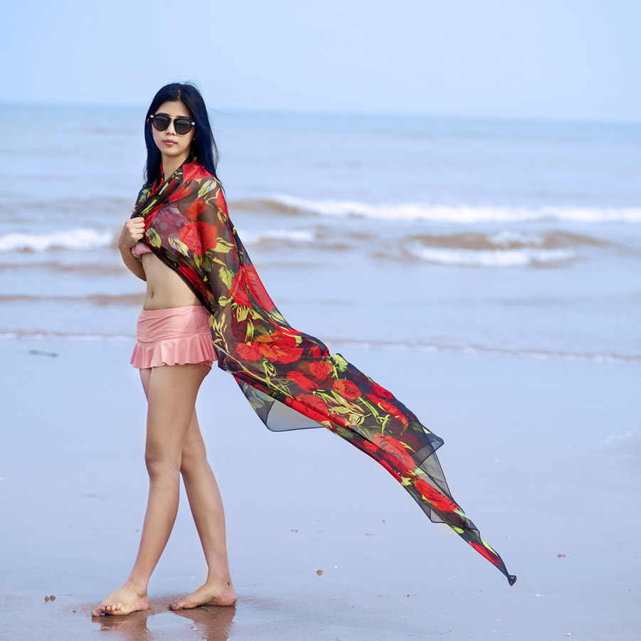 Beach Parei Luminoso A Colori Rose Dello Scialle Della Sciarpa Sexy di Estate Delle Donne di Occultamento del Bikini di Grandi Dimensioni Parei Hawaii Wrap Dress