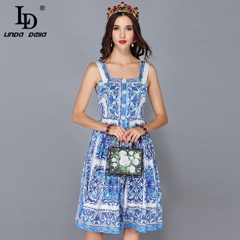 LD LINDA DELLA New Fashion Runway Summer Dress Women s Spaghetti Strap Blue and white Floral