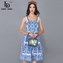 LD LINDA DELLA New Fashion Runway Summer Dress Women's Spaghetti Strap Blue and white Floral Printed Casual Dress vestidos(China)