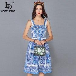 LD LINDA DELLA New Fashion Runway Summer Dress Women's Spaghetti Strap Blue and white Floral Printed Casual Dress vestidos